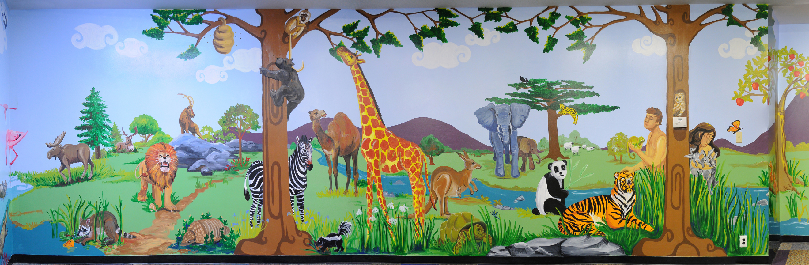 Murals sue kay art for Creation mural kids